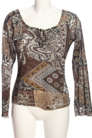 Raspberry collection Long Sleeve Blouse brown-white abstract pattern casual look