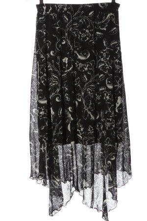 Raspberry collection Midi Skirt black-white allover print elegant