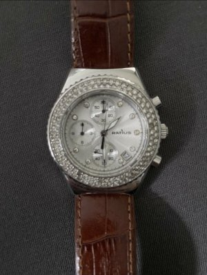 Watch With Leather Strap brown-silver-colored