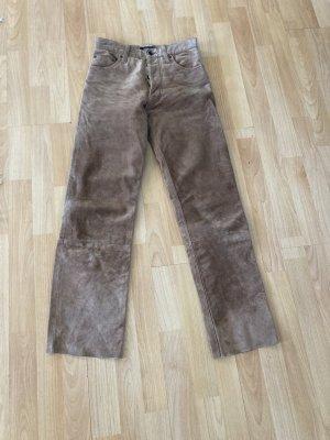 Uli Knecht Pantalone in pelle marrone chiaro Pelle
