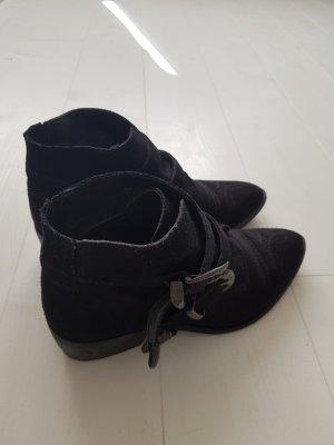 Rauleder Stiefelette von Vero Moda Gr. 38 Leder Cowboy Boots schwarz