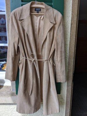 Apart Skórzany płaszcz beżowy