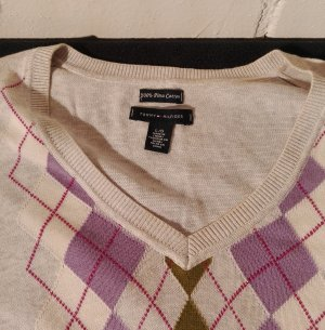 Rautenmuster Baumwollpullover mit V-Ausschnitt