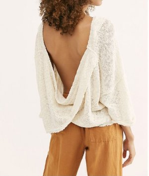 Raw edges. Low cowl back Pullover. Free People *new*