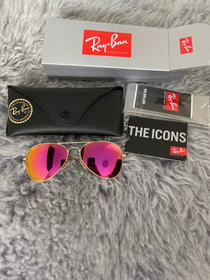 Ray ban aviator Spiegelbrille pink orange