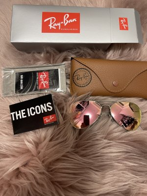 Ray Ban Aviator Glasses pink-silver-colored glas