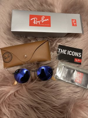 Ray Ban Oval Sunglasses blue-dark grey glas