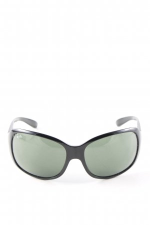 Ray Ban ovale Sonnenbrille schwarz-khaki Casual-Look