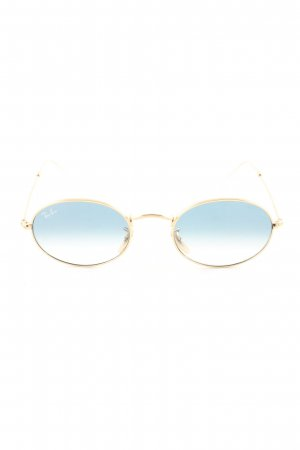 Ray Ban Oval Sunglasses gold-colored-blue color gradient business style