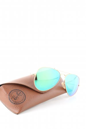 Ray Ban Pilot Brille goldfarben-türkis Casual-Look