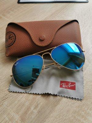Ray Ban Piloten Sonnenbrille Large Blau Gold