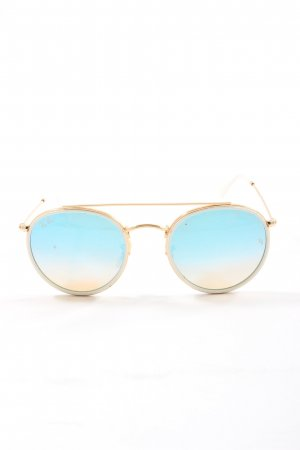 Ray Ban Round Sunglasses gold-colored-blue street-fashion look