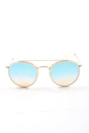 Ray Ban Lunettes de soleil rondes doré-bleu style mode des rues