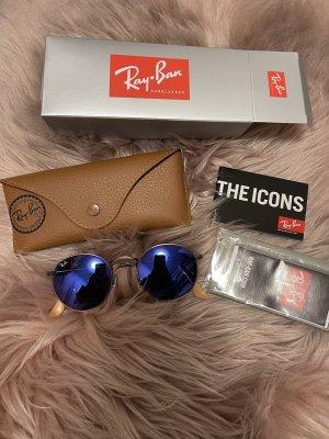 Ray ban runde sonnenbrille verspiegelt blau