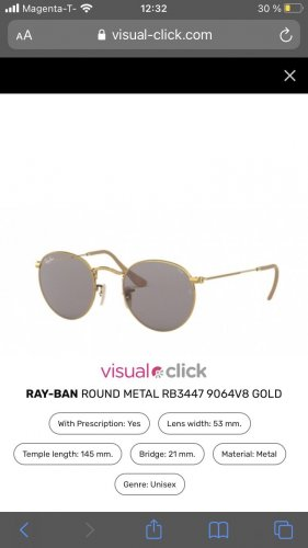Ray Ban Ronde zonnebril goud