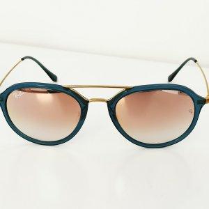 Ray Ban Owalne okulary przeciwsłoneczne złoto-petrol