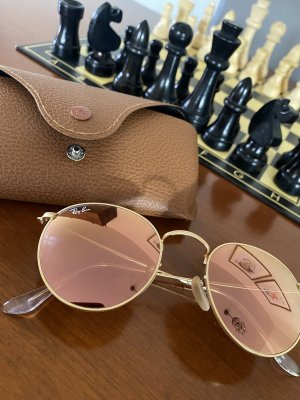 Rayban Lunettes de soleil rondes or rose