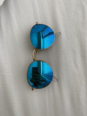 RayBan Sonnenbrille rund und blau verspiegelte Gläser ! Polarisierte Gläser!
