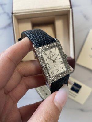 Raymond Weil Geneve Tango Vintage Unisex Uhr Armbanduhr Schwarz Silber Leder 5381