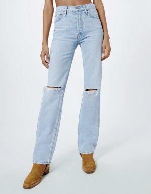 RE / DONE High Waist Jeans azure-white cotton