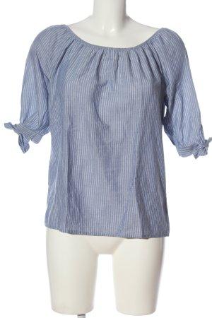 re.draft Blusa alla Carmen blu-bianco motivo a righe stile casual