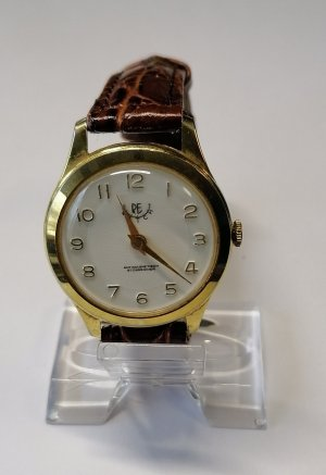 Watch With Leather Strap bronze-colored-gold-colored