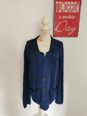 Real Indigo Vintage Effekt Damen Strickjacke Strickcardigan blau Größe M