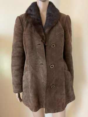 Real leather coat with mink fur