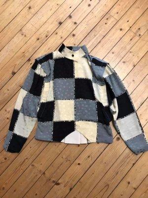 Real Vintage Bluse grau creme schwarz Gr 42