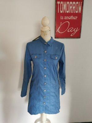 Realty Robe en jean bleu acier-bleu fluo coton