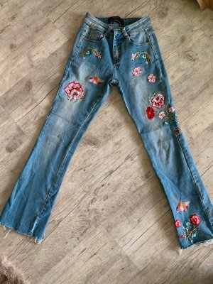 Realty Revival Jeans - Bestickt - DenimBlue - Washed - Größe XS 34