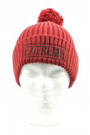 Reason Knitted Hat red printed lettering casual look