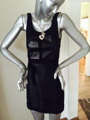 Rebecca Minkoff Kleid schwarz Gr. 4 (Gr. 32/34) mit Ledereinsätzen