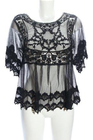 Rebellion Transparenz-Bluse schwarz Elegant
