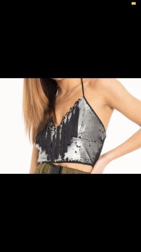 Rebellious Fashion Pailetten Croptop mit Neckholder