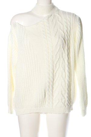 REBELLIOUS Warkoczowy sweter w kolorze białej wełny Warkoczowy wzór