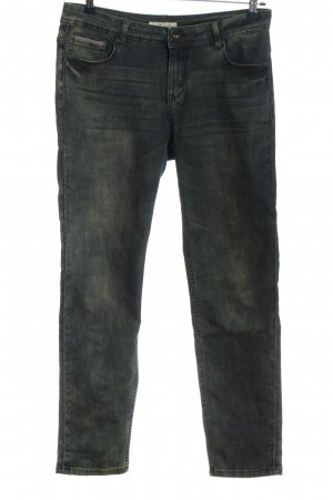 Red Button Straight-Leg Jeans