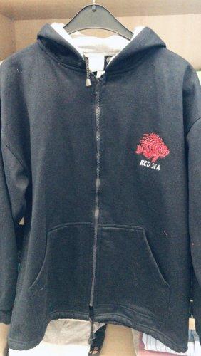Red Sea sweatshirt mit Kapuze Feuerfisch oversize M/L 40 nachtblau mit rotem Fisch genäht