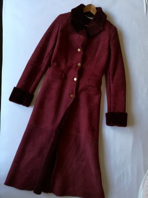 Red suede full length coat