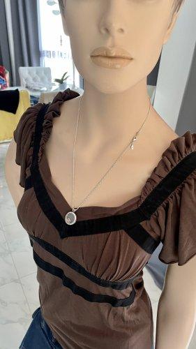 RED Valentino Empire Waist Shirt brown-dark brown cotton