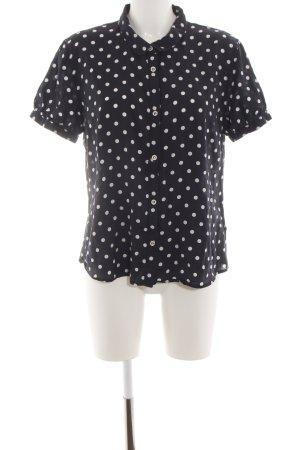 redgreen Kurzarm-Bluse schwarz-weiß Punktemuster Casual-Look