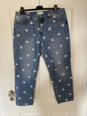 Redial Jeansy 7/8 niebieski-biały Bawełna