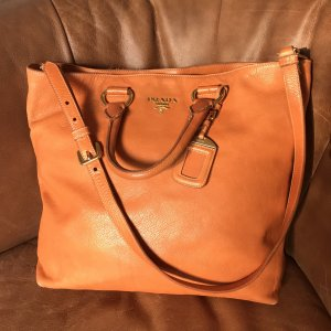 Prada Handtasche Shopper Leder Cognac Orange