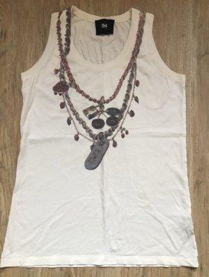 --Reduziert--Original Dolce & Gabbana Shirt Gr S 36 weiß mit D&G Ketten Verzierung