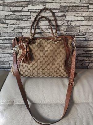 REDUZIERT Original Gucci GG Canvas Tasche Bella Bag braun Leder