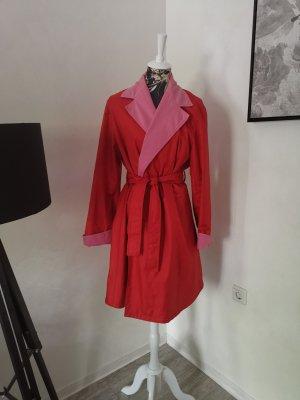 Yves Saint Laurent Abrigo ancho rojo-rosa
