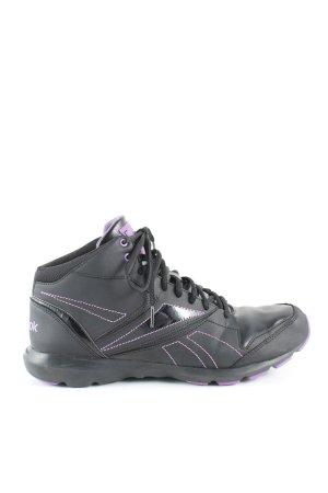 Reebok High Top Sneaker schwarz-lila Schriftzug gedruckt Casual-Look