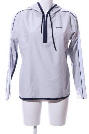 Reebok Kapuzenjacke weiß-blau Schriftzug gestickt Casual-Look