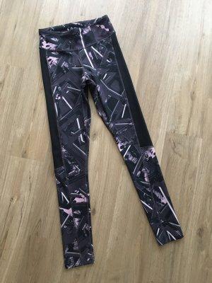 Reebok Leggings Tights Sporthose schwarz grau lila Gr. XS