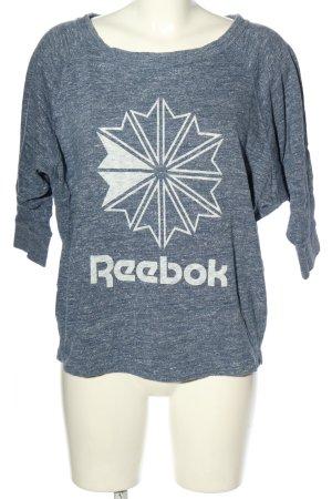 Reebok Top à manches longues bleu-blanc moucheté style décontracté